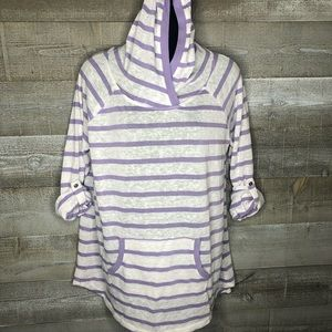 Earth Yoga organic cotton stripe yoga hoodie